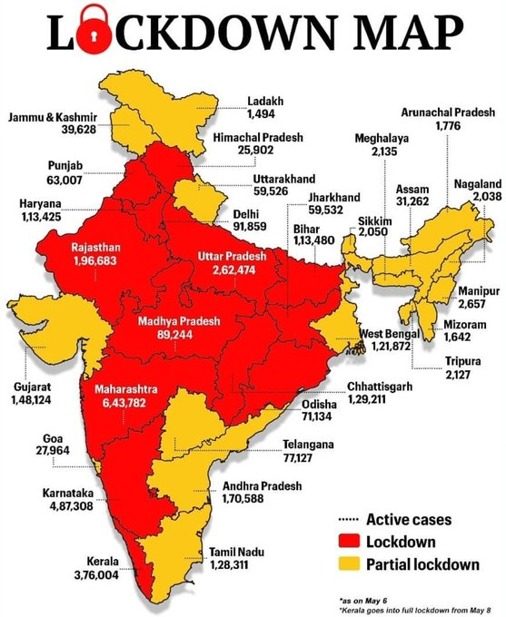 many states in India are lockdown