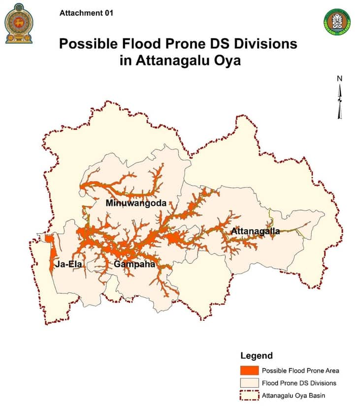 Extreme levels of flood danger were announced in Gampaha, Galle, Kalutara and Ratnapura